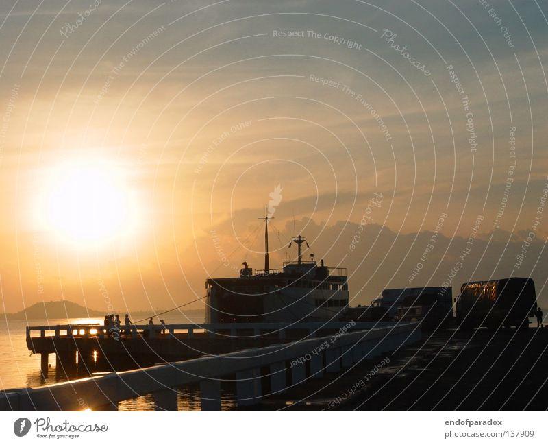 los geht's... Meer Wasserfahrzeug grau ruhig Ferien & Urlaub & Reisen Asien Philippinen Außenaufnahme Schifffahrt ocean sanft blau Frieden Abend Farbe Cebu City