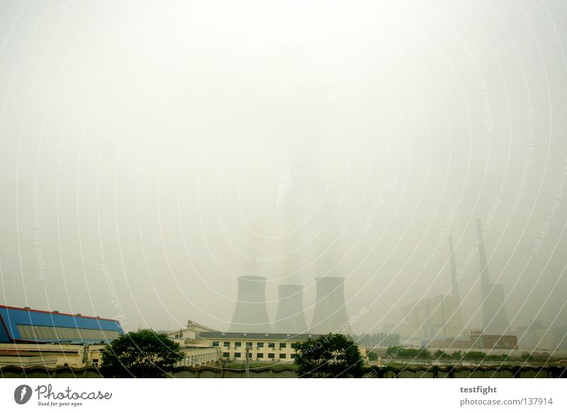 beijing 2008 dunkel dreckig Nebel Industrie Energiewirtschaft trist Rauch China Staub hässlich Hauptstadt Stromkraftwerke Smog Olympiade Kernkraftwerk