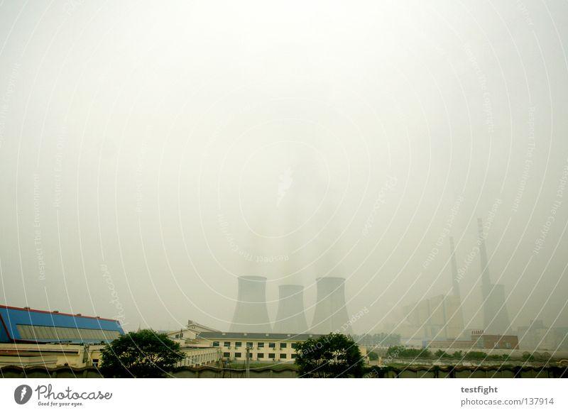 beijing 2008 Smog Staub Schall dunkel schlechtes Wetter Nebel Kernkraftwerk Kohlekraftwerk Rohstoffe & Kraftstoffe trist hässlich negativ Peking China Olympiade