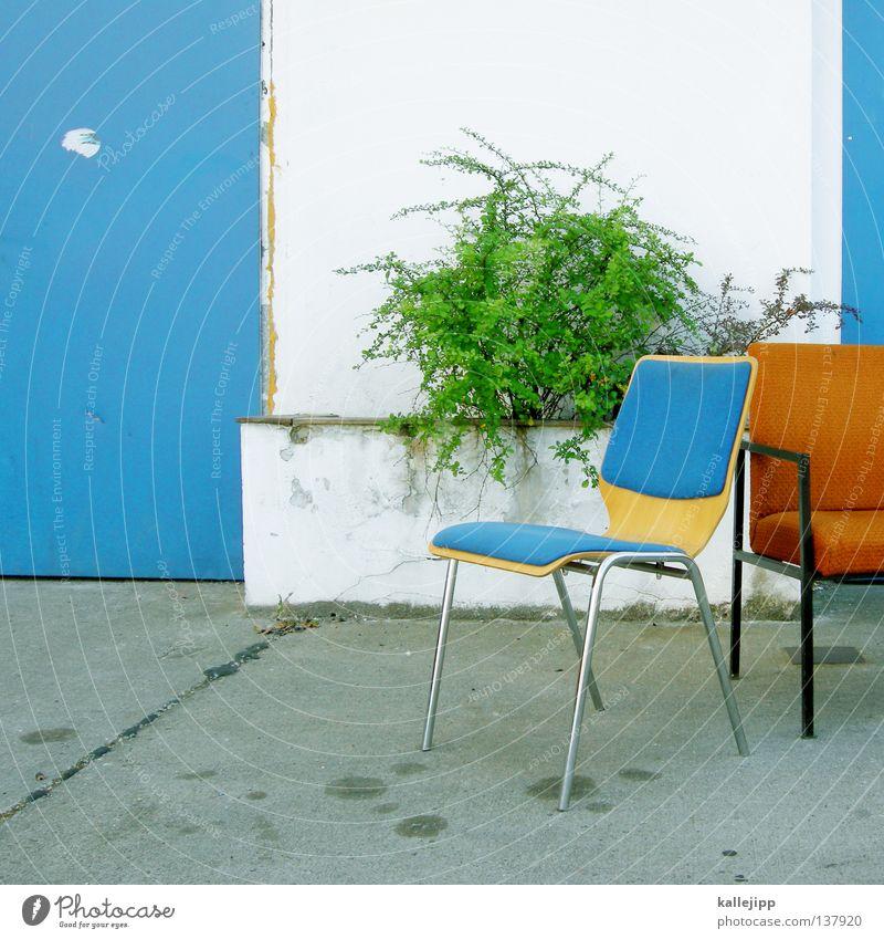 komplement - är weiß grün blau Haus Erholung orange Tür Design frisch Pause Sträucher Tor türkis Werkstatt Parkplatz Sitzgelegenheit