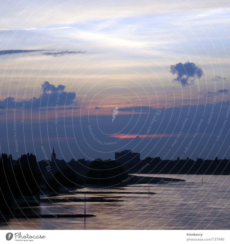 hidden sundown Deutschland Rhein Sonnenuntergang Stimmung dunkel Abendsonne Wolken Baum Aussicht Sonnenstrahlen Gebäude Haus schlechtes Wetter Wahrzeichen