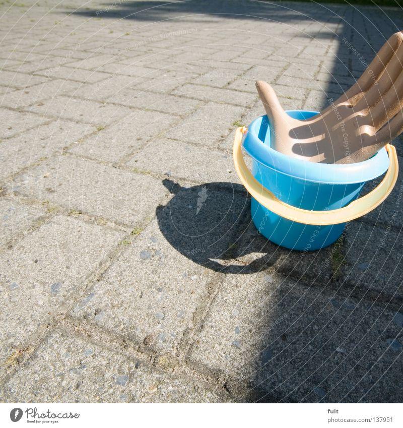 Eimer Hand Griff gelb blau Bauernhof Plastikeimer fangen