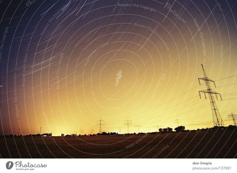 ...and watching the world spining- Horizont Licht Langzeitbelichtung analog Weitwinkel night space Energiewirtschaft time Bewegung Himmel civilation