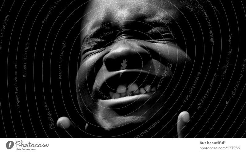star° Afrika Gefühle Freude Kind Junge Schwarzweißfoto genießen Zähne