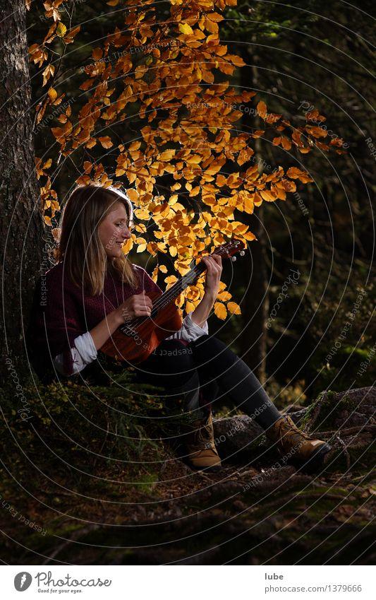 Kylee mit Ukulele II Jugendliche schön Junge Frau Erholung ruhig Herbst Gefühle Glück Kunst Stimmung Zufriedenheit Musik genießen Wohlgefühl harmonisch Gitarre