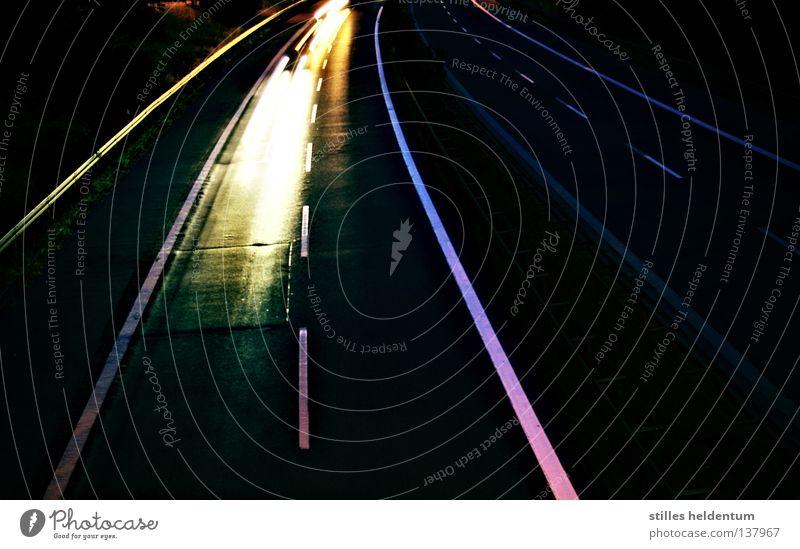 48 Stunden Autobahn Nacht Nachtfahrt Licht Kettcar Seitenstreifen Verkehr PKW Lust