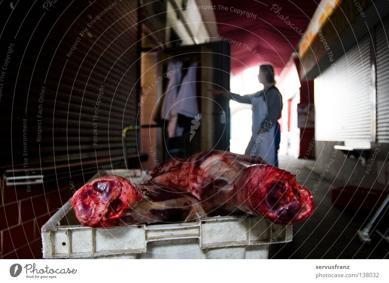 Mahlzeit ! Fleisch Metzger kochen & garen roh Lebensmittel Handel Fleischhauer Markt Ernährung Schweinsbraten Schweinefleisch Kiste Schürze Blut frisch brutal
