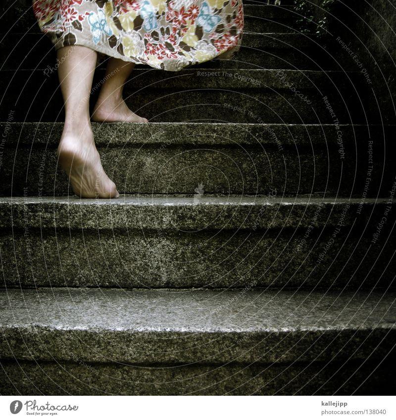 aschenputtel Frau Mensch Sommer Blume feminin Bewegung Wärme Stein Beine Luft Fuß Wind gehen laufen Treppe Erfolg