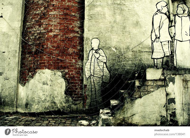 COLOURS Straßenkunst schwarz weiß trashig kaputt verfallen Nachbar tratschen schick Kultur Hinterhof Mauer grau Ruine Comic Gemälde selbstgemacht Vandalismus