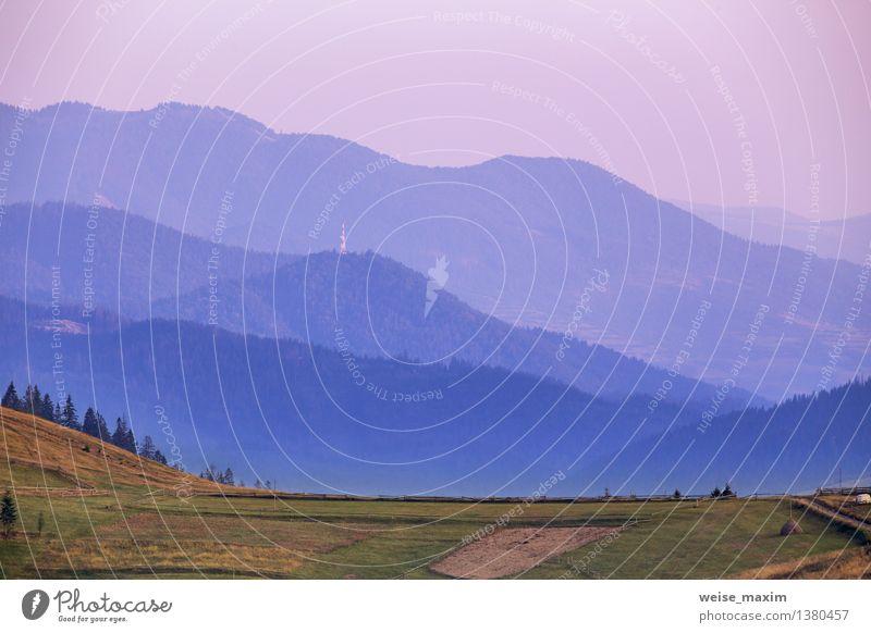 das Land der blauen Hügel Natur Landschaft Erde Luft Himmel Sonnenaufgang Sonnenuntergang Herbst Schönes Wetter Pflanze Baum Wiese Feld Berge u. Gebirge Dorf