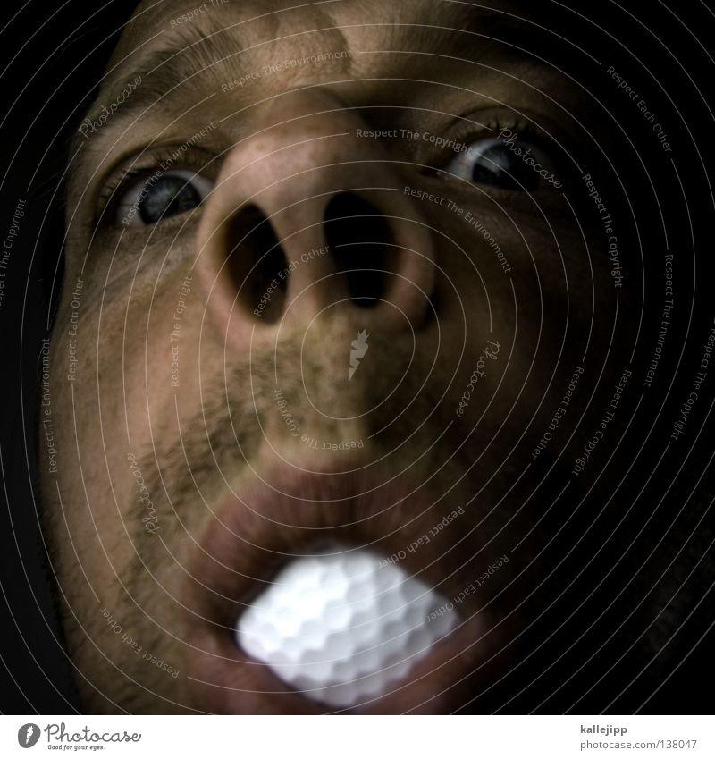 eingelocht Mensch Mann weiß Freude Gesicht Auge Ernährung Spielen lachen lustig Essen Freizeit & Hobby Mund Nase Lifestyle Ball