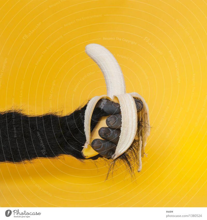 Chefsache Hand schwarz gelb lustig Stil Lifestyle Lebensmittel Design Frucht wild Kommunizieren Idee Finger Zeichen Coolness festhalten