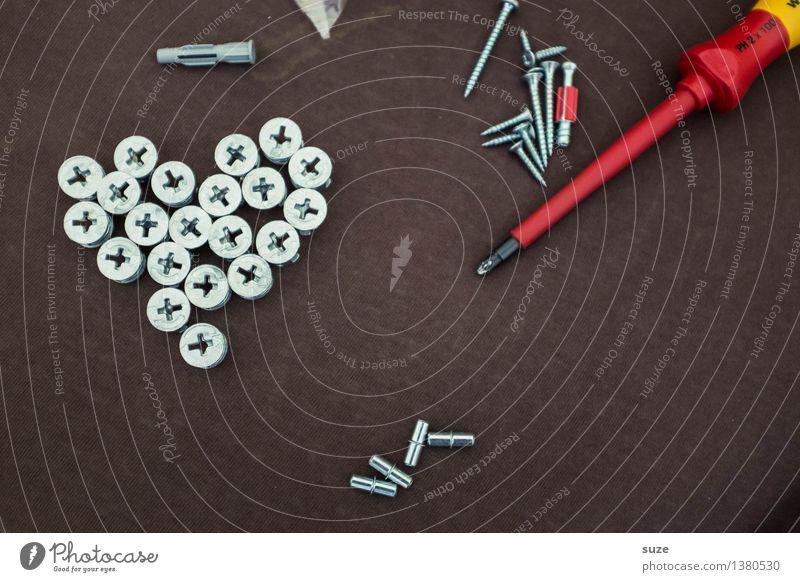 Ein Herz für Schrauber rot Liebe braun Metall Arbeit & Erwerbstätigkeit Freizeit & Hobby einfach Zeichen Beruf Umzug (Wohnungswechsel) Leidenschaft