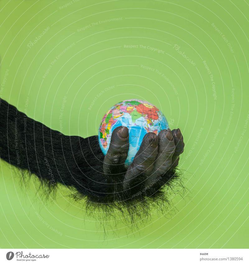 Spieltrieb | Erdballweitwurf Freude Karneval Halloween Arme Hand Tier Erde Klima Urwald Fell Behaarung Zeichen klein lustig verrückt wild grün Verantwortung