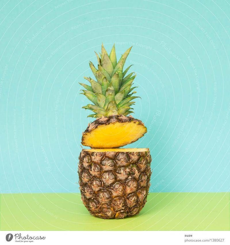 Da lacht die Ananas blau Sommer Gesunde Ernährung lustig Stil Lifestyle lachen Lebensmittel Design Frucht einfach Coolness lecker Bioprodukte graphisch
