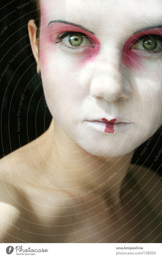 ..asiatique Gesicht Schminke Lippenstift Wimperntusche Rouge Sommer Karneval Junge Frau Jugendliche Erwachsene Maske weiß unschuldig Asien China Geisha