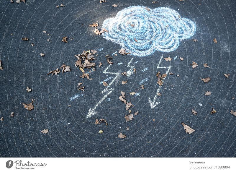 Schietwetter Umwelt Natur Urelemente Himmel Wolken Gewitterwolken Herbst Klima Wetter schlechtes Wetter Wind Sturm Regen Blitze Blatt Kreide kalt Farbfoto