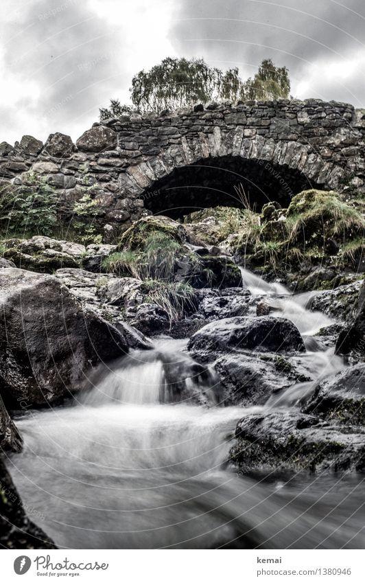 Under the bridge Ausflug Abenteuer Umwelt Natur Landschaft Wasser Wolken Herbst Moos Felsen Bach Fluss Wasserfall England Brücke Steinbrücke alt authentisch