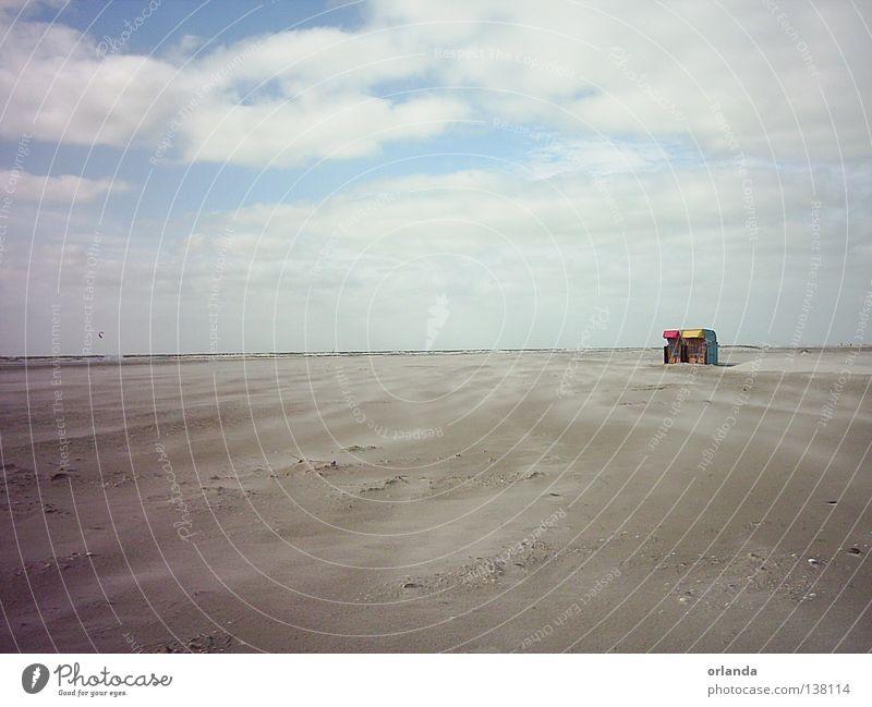 Weite <->Tiefe Natur schön Himmel blau Strand ruhig Wolken Ferne Freiheit Sand Zufriedenheit Zusammensein Kraft Küste Wind Wetter