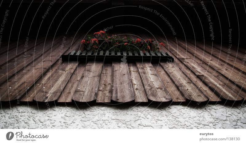 a Fensterl. Wand Holzwand Fassade Gemäuer weiß Holzbrett Pelargonie schwarz Zaun Haus braun leer Garage Scheune Bayern Schwarzwald Süden Balkon Detailaufnahme