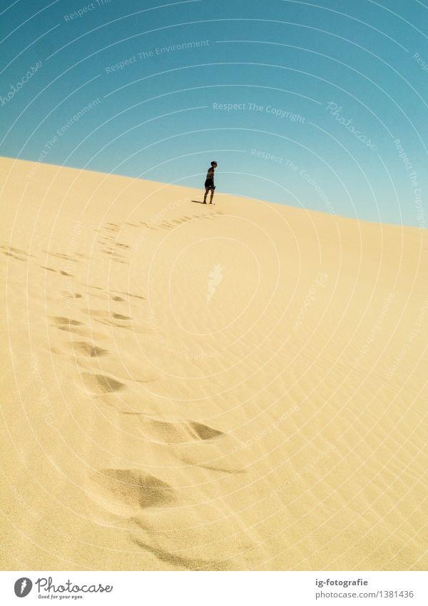 langer Weg - Fußabdrücke auf Sanddüne in der Wüste Sommer Karriere PKW Fußspur fahren heiß Gefühle Begeisterung Erfolg Kraft Willensstärke Tatkraft Abenteuer