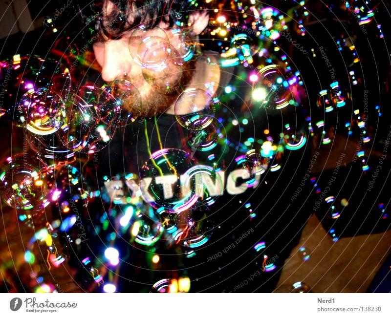 EXTINCT Mann Jugendliche schön Freude Gesicht schwarz Farbe Haare & Frisuren Party glänzend mehrere Schriftzeichen viele Bart
