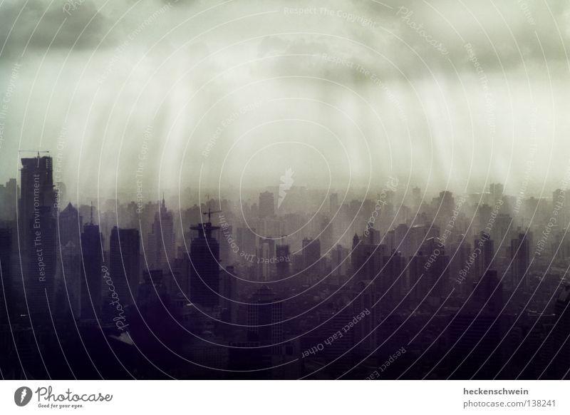 Beton(t) fortschrittlich 1 Stadt Sonne Einsamkeit Wolken Umwelt dunkel grau Beleuchtung Erfolg Beton Hochhaus trist Skyline China bauen verloren
