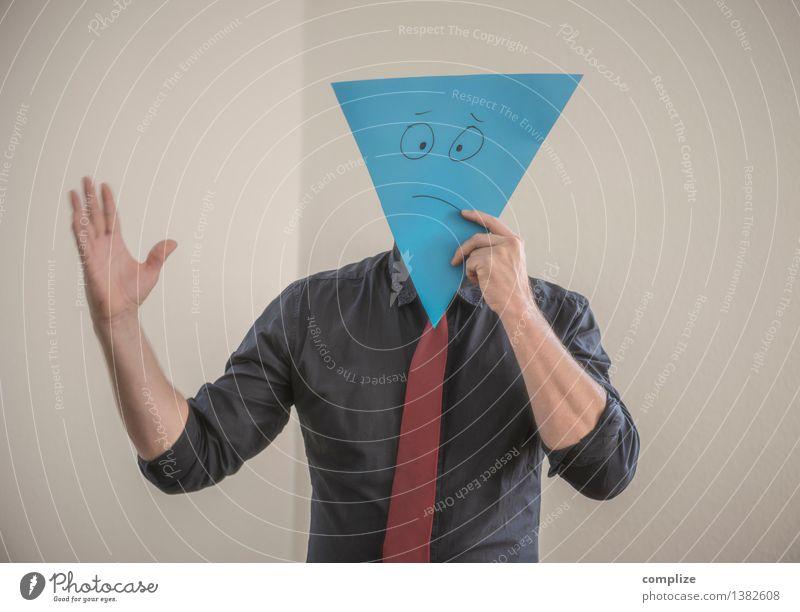 Dreiecks-Geschichte Mensch Mann Einsamkeit Erwachsene Leben Traurigkeit sprechen Gesundheit Gesundheitswesen Business Arbeit & Erwerbstätigkeit Zufriedenheit Büro Erfolg Trauer Wellness