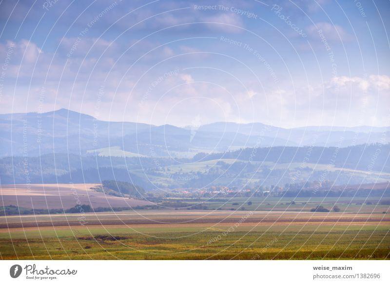 Oktober in der Slowakei Himmel Natur Pflanze blau grün Sonne Landschaft Wolken Berge u. Gebirge gelb Herbst Wiese Luft Erde Schönes Wetter