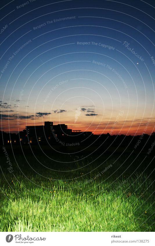 ruhruni Nacht Gras Sonnenuntergang schwarz Silhouette Wolken Wiese Industrie ruhruniversität Himmel