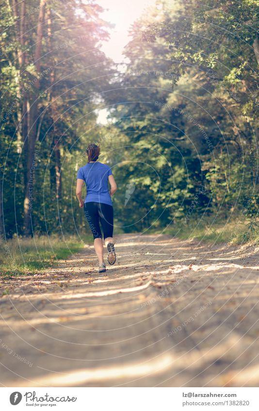 Athletische junge Frau, die entlang einer Schneise rüttelt Mensch Natur Jugendliche Sommer Einsamkeit Landschaft Mädchen 18-30 Jahre Wald Erwachsene Wärme Sport