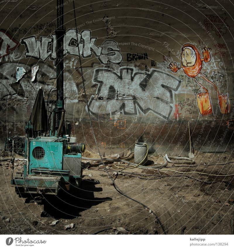 moonbase Stadt Arbeit & Erwerbstätigkeit Wand Graffiti orange Erde Kreis Zukunft Industriefotografie rund Kabel Baustelle Bildung Beruf Gastronomie