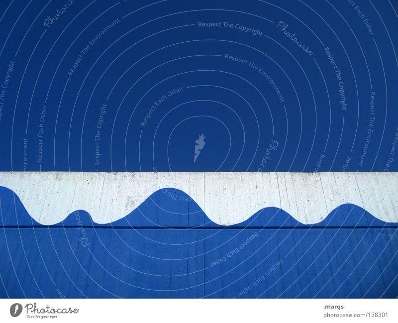 Seegang Wasser weiß Meer blau Sommer Ferien & Urlaub & Reisen Farbe Lampe Wand See Wellen Hintergrundbild Fassade rund Sauberkeit Sturm