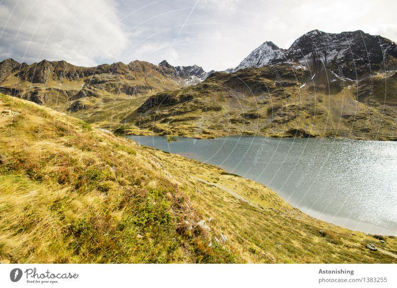 Bergsee Umwelt Natur Landschaft Pflanze Luft Himmel Wolken Horizont Herbst Wetter Gras Sträucher Wiese Hügel Felsen Alpen Berge u. Gebirge Gipfel