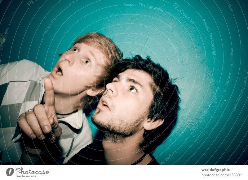 Hey dude, look at this..... erstaunt Jugendliche Freude amazing boaa boys blue shoot Begeisterung Mauer