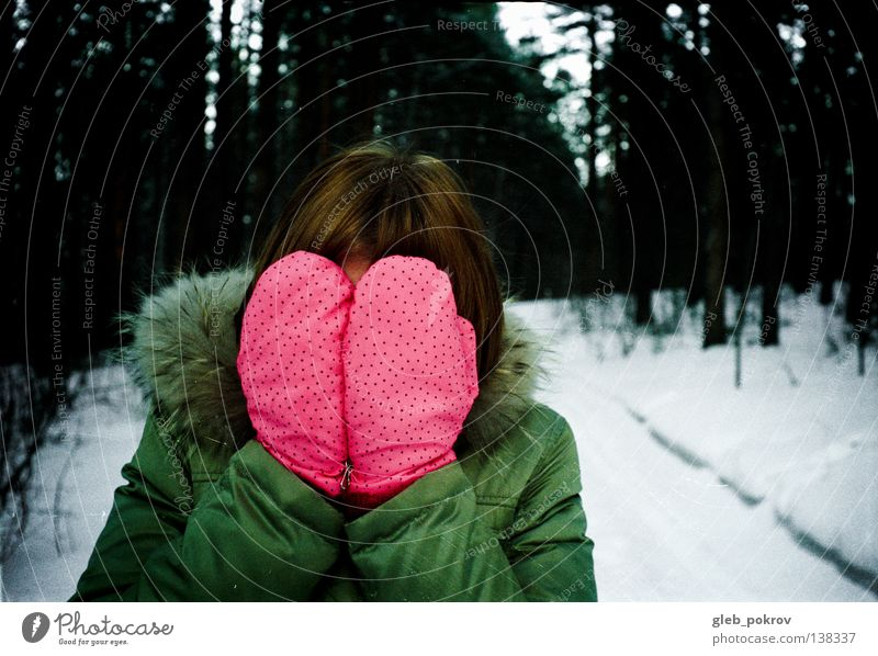 snow Winter rosa mittens forest russia clothes hair hands