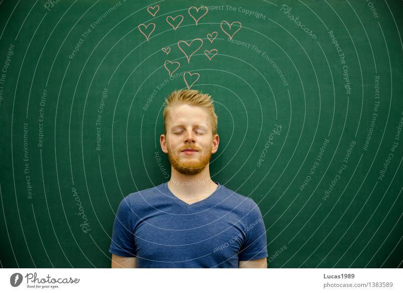 verliebt Schule Studium lernen Student Mensch maskulin Junger Mann Jugendliche Erwachsene 1 18-30 Jahre 30-45 Jahre Glück Fröhlichkeit Zufriedenheit