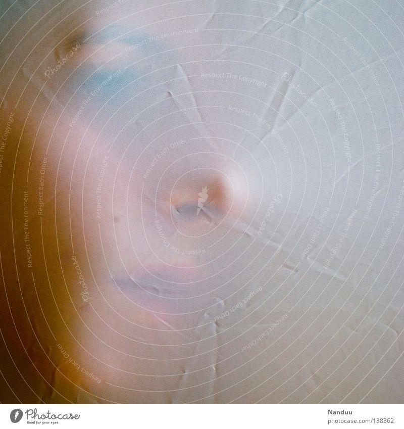 Andeutung Frau Jugendliche schön Gesicht träumen Nase zart Stoff Falte Gemälde verstecken sanft Tuch Versteck Faser unsichtbar