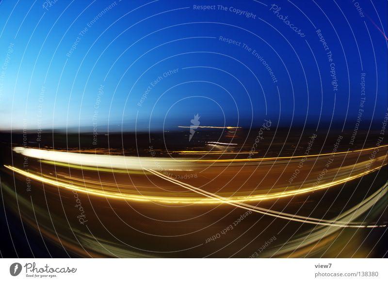 Fischfahrt Himmel Ferien & Urlaub & Reisen Farbe Spielen Bewegung Verkehr Eisenbahn Geschwindigkeit fahren rein Spuren Biegung Bruch Fischauge Nacht