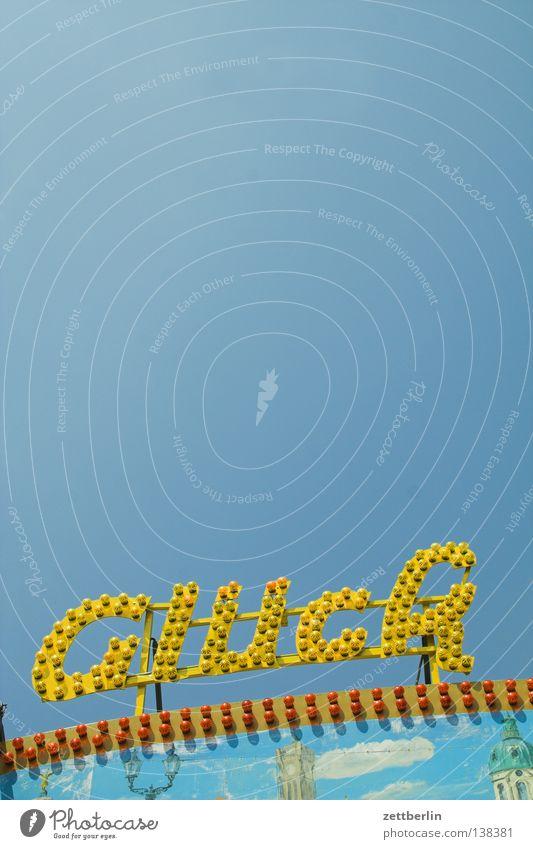 Glück Himmel blau Freude Spielen Schriftzeichen Typographie Jahrmarkt Glühbirne himmelblau Leuchtreklame Elektromonteur Lampe Werbung Glücksspiel Losbude