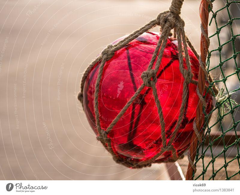 Kugel Farbe rot Business Dekoration & Verzierung Seil Netz Tradition Schifffahrt Fischereiwirtschaft maritim Glaskugel