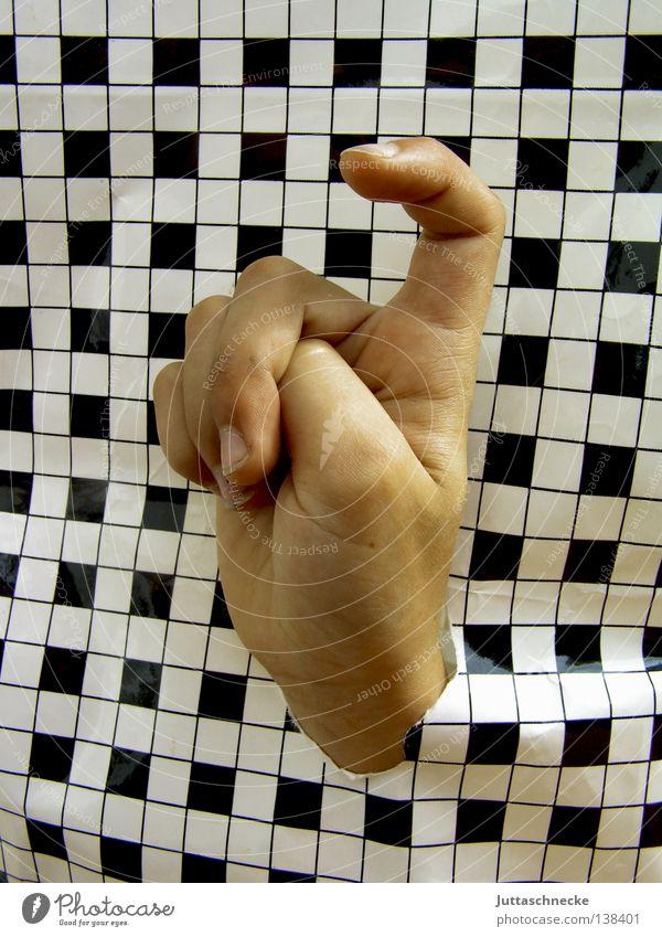Bitte, Frau Lehrer, ich weiß was... Hand Finger Rätsel Aussage Wunsch Hallo kariert schwarz biegen gekrümmt Kommunizieren Handwerk aufzeigen pepita
