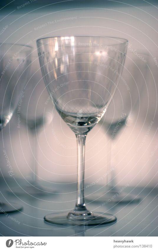 Glasvitrine im kühlen Lichtschein kalt Reihe Alkohol Sekt Champagner Vitrine