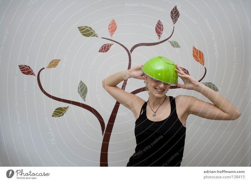 Grünkäppchen Frau Humor Mütze Helm grün weiß Baum Wand Sommer frisch Küche Freude lustig lachen Hut Schalen & Schüsseln