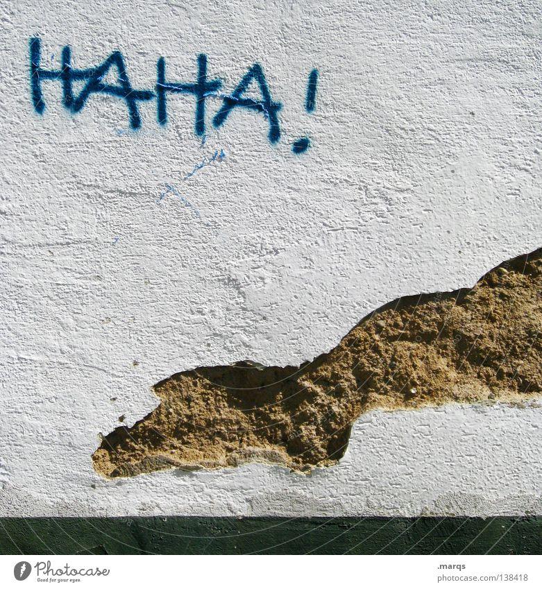 Freude Wand Gefühle lachen Graffiti lustig Erfolg Schriftzeichen kaputt Buchstaben verfallen Verfall grinsen Witz Straßenkunst Wandmalereien