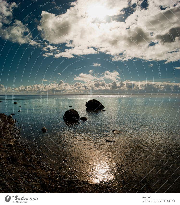 Findlinge Umwelt Natur Landschaft Wasser Himmel Wolken Horizont Klima Wetter Schönes Wetter Küste Ostsee Insel Rügen Mecklenburg-Vorpommern Deutschland leuchten