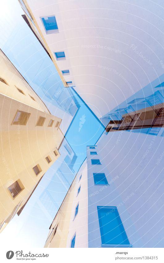 Hoch elegant Stil Design Haus Wolkenloser Himmel Hochhaus Gebäude Architektur Fassade Fenster hoch einzigartig verrückt Perspektive Surrealismus Wachstum