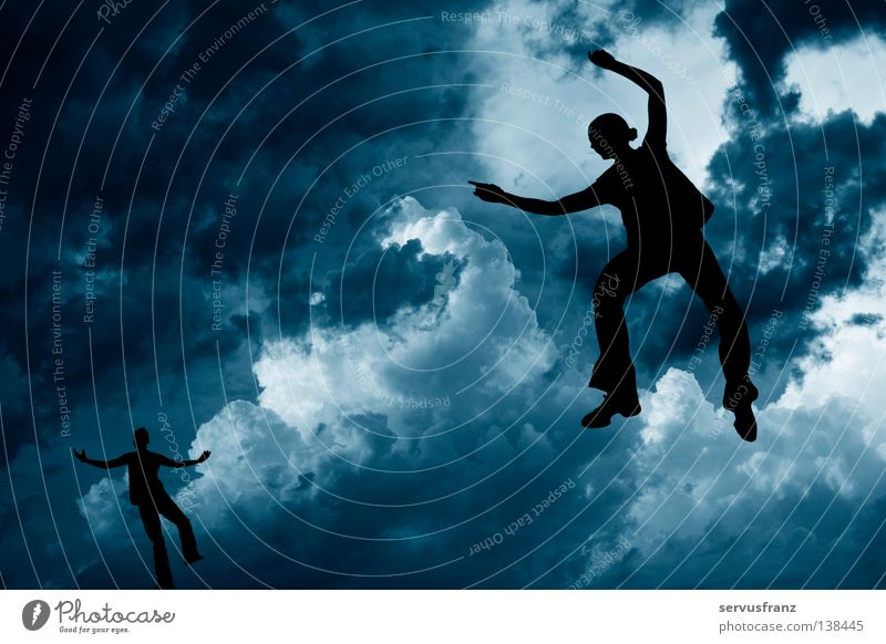 Tanz in den Wolken Schweben Freude Tanzen Tänzer Himmel Fantasygeschichte blau Silhouette