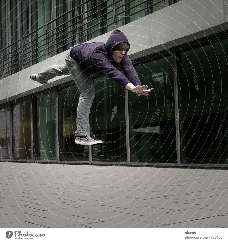 ::FLYING:: Mensch Wand grau träumen Denken fliegen Beton modern Vertrauen Typ falsch Schweben Erfinden utopisch unmöglich