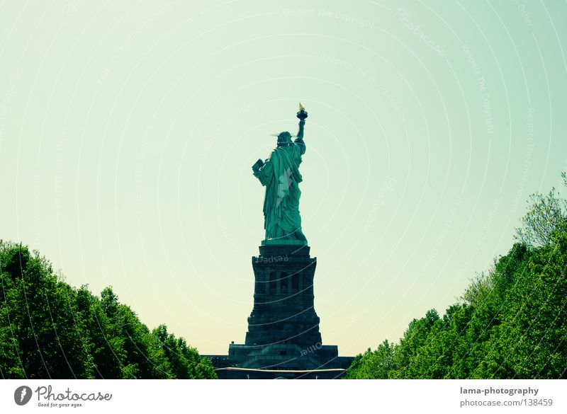 Ein schöner Rücken... Himmel blau grün Baum Architektur Freiheit Kunst hoch Perspektive Symbole & Metaphern USA Aussicht Frieden historisch Denkmal Dame